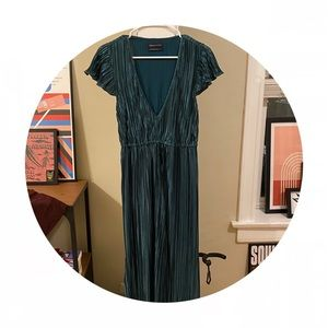 Urban Outfitters Pleated Teal Midi Dress